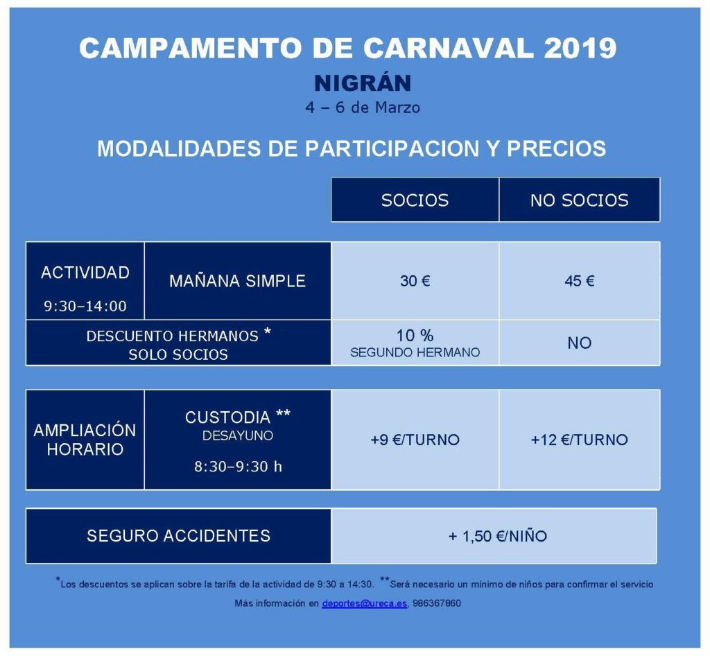 TARIFAS CAMPAMENTO CARNAVAL 2019