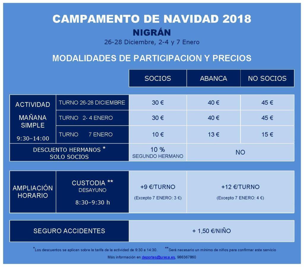 TARIFAS CAMPAMENTO NAVIDAD 2018