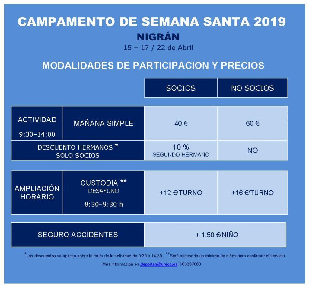 TARIFAS CAMPAMENTO SEMANA SANTA 2019