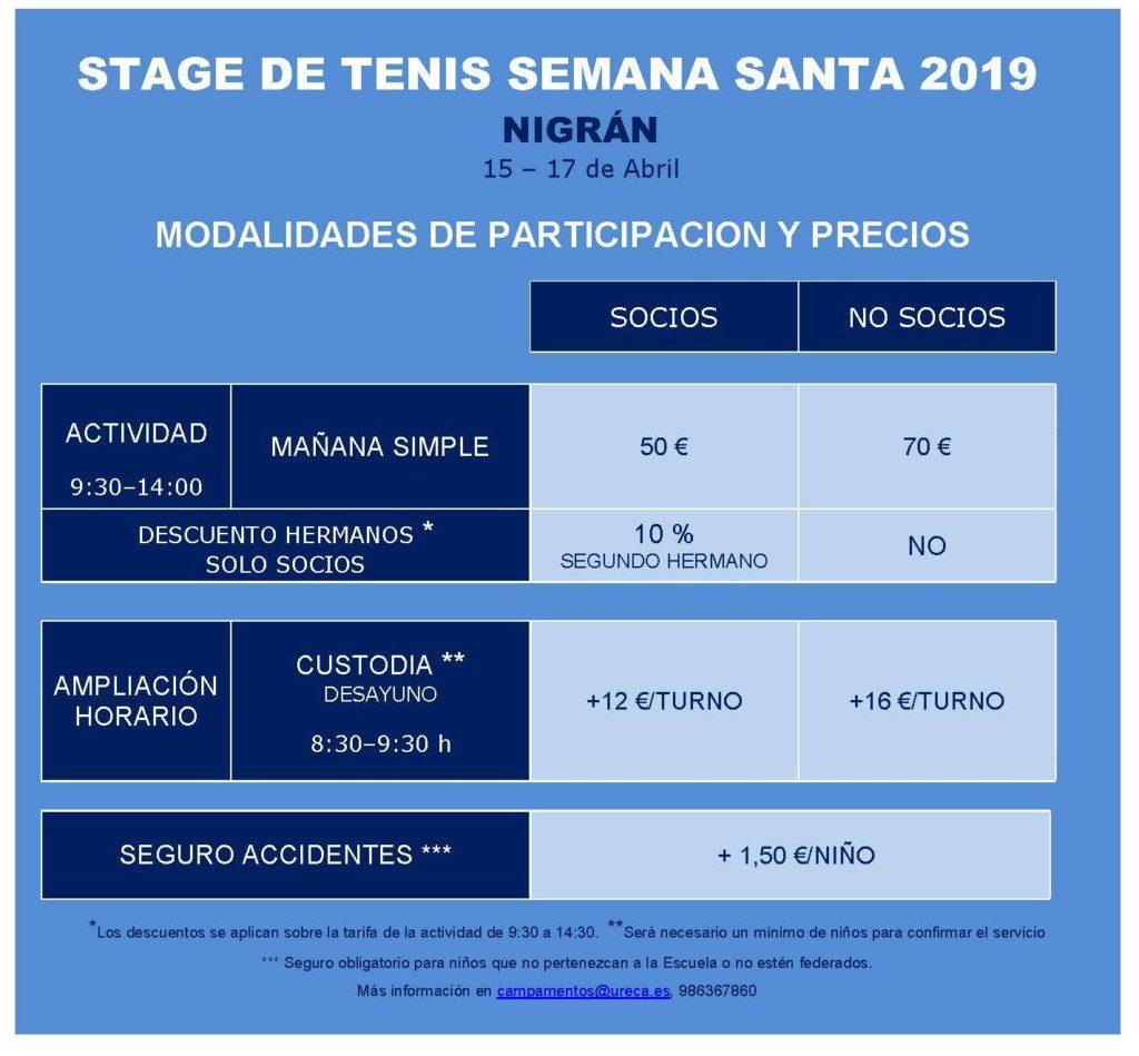 TARIFAS STAGE SEMANA SANTA 2019